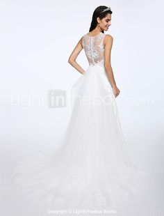 9c17612349c Lanting Bride® A-line Wedding Dress Court Train Jewel Lace   Tulle with  Appliques