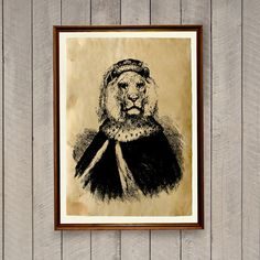 Lion poster on handmade aged paper. Nice rustic home decor. Lovely animal art print. SIZE: 8.3 x 11.7 inches (A4 size)  Lovely old paper, nice animal