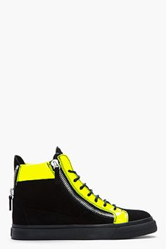 Giuseppe Zanotti Black Nubuck And Neon Green London Sneakers for men | SSENSE