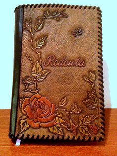 Hand tooled leather notebook cover diary cover by Gemsplusleather