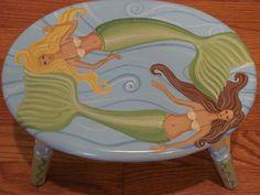 Hand Painted Mermaid Step Stool by TopDrawerArt on Etsy, $65.00