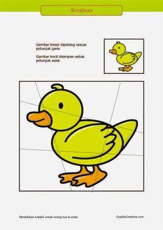 kerajinan gunting tempel PAUD (balita/TK) : buat sendiri puzzle bebek