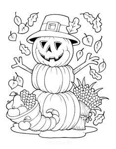 Thanksgiving Coloring Pages   Scarecrow pumpkin cornucopia