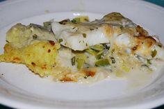 Ovenschoteltje van prei, kabeljauw,aardappelpuree met mosterdsaus