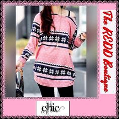 Long Sleeve TOP Ladies Scoop Neck Long Sleeve Top....PRETTY Pink/Black and White Snowflake Pattern....65% COTTON/35%POLY...MEASURES PIT TO PIT 20 and 1/2 INCHES...ACROSS BOTTOM HEM APPROX 18 INCHES...SLEEVE LENGTH 23 INCHES...LENGTH IN BACK FROM NECK TOP TO BOTTOM HEM 28 INCHES!!!  💥NOW ACCEPTING PAYPAL💥  🚫TRADES‼️  PRICE IS FIRM UNLESS BUNDLED‼️ Boutique Tops Tees - Long Sleeve