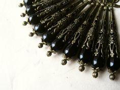 Black Filigree Earrings. Handmade Victorian Steampunk Wedding Jewelry. Antique Bronze & Black Teardrop Earrings. Black Onyx Jewelry DA3 VFC on Etsy, $18.00
