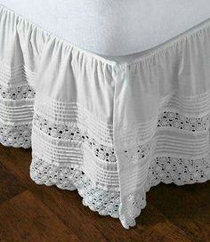 """""""heirloom"""" crocheted bed skirt Idea: use old doilies or runners for bedskirt! Home Bedroom, Bedroom Decor, Bedrooms, Bedroom Retreat, Diy Recycling, Lace Bedding, Dust Ruffle, Linens And Lace, Comfortable Fashion"""