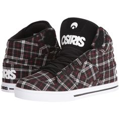 Osiris Clone (Tilted) Men's Skate Shoes ($50) ❤ liked on Polyvore featuring men's fashion, men's shoes, men's sneakers, black, mens vegan shoes, mens black high tops, mens black hi top sneakers, mens high top skate shoes and mens shoes