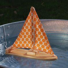 Cute little wooden handmade children's toy boat