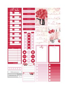 Valentines day love themed printable planner stickers. Includes free printable planner stickers for the classic size Happy Planner.  Can also be cut down to fit the Erin Condren Life Planner or any of your favorite planners and inserts.