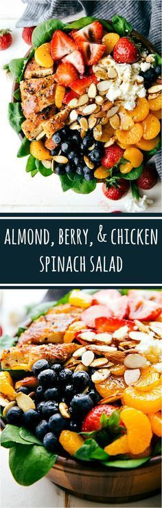 Almond, Berry, and Chicken Spinach Salad with a Delicious and Healthy Balsamic Dressing. Healthy and incredible salad! | Posted By: DebbieNet.com
