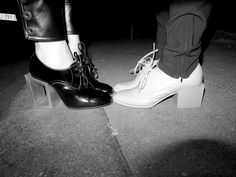NATACHA RAMSAY-LEVI's (on the left) and GAIA REPOSSI's (on the right) Balenciaga shoes, Paris. Photo Olivier Zahm