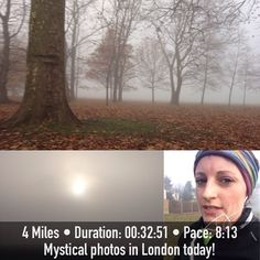 Great pic of a run in the park in the fog!  FitSnap is a free iPhone app that creates inspirational pictures from your workouts. Download it from the App Store today!