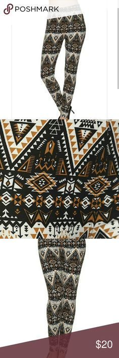 """NEW ARRIVAL?? SOFT Tan Tribal Print Legging Everyone's favorite leggings, SUPER SOFT brushed knit, featured in a tan, black and cream tribal print. Smooth and comfortable, with stretch for the perfect fit.  So soft and comfy you won't want to take them off!!  One size fit (2-14) - Inseam approx 27"""", total Length 37"""", Waist 12.5-20""""  Paneled elastic waistband Approx. 27 in. inseam 92% polyester, 8% spandex Machine wash boutique Pants Leggings"""