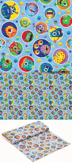 blue fabric colorful monster circle by Northcott Stonehenge Monsters - Kawaii Fabric Shop Michael Miller, Halloween Stoff, Halloween Fabric, Stonehenge, Textiles, Modes4u, Kawaii, Fabric Shop, Monster