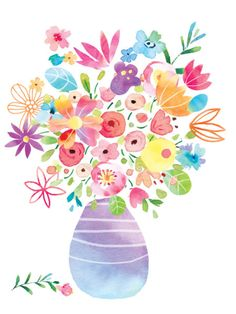 Leading Illustration & Publishing Agency based in London, New York & Marbella. Art And Illustration, Floral Illustrations, Watercolor Illustration, Watercolor Cards, Watercolour Painting, Watercolor Flowers, Colorful Flowers, Spring Flowers, Pattern Wallpaper