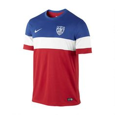The 2014 U.S. Stadium Men's Soccer Jersey is made with sweat-wicking fabric for lightweight comfort. Featuring a woven team crest and graphic details that look like the real thing, this replica away jersey proudly celebrates your favorite club.Features:  Dri-FIT fabric to wick sweat away and help keep you dry and comfortable  Mesh fabric for breathability  Fold-over collar and button placket for classic style  Replica design with woven crest and team details for…