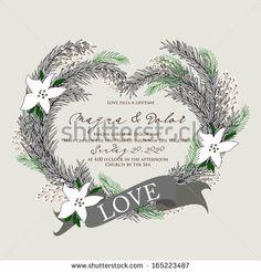 Christmas Wreath Print Design by Wedding invitation cards, via ShutterStock