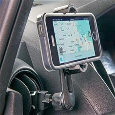 A universal fit, black car cell phone holder and mount that clips onto horizontal and vertical air vents but does not block air flow. Fits vertical and horizontal air vents with pivoting clip attachments and tension grip holder. Car Cell Phone Holder, Cell Phone Store, Air Vent Phone Holder, Cell Phone Mount, Vw Bus, Phone Cases Iphone6, Car Storage, Diy Car, Storage Solutions