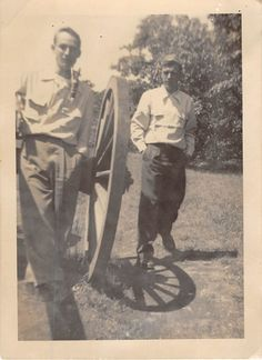 Photograph Snapshot Vintage Black and White 2 Men Pipe Cannon Wheel 1940'S | eBay