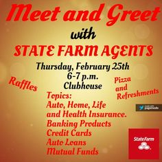 Good Thursday Morning Everyone!  Don't forget about our State Farm Meet & Greet this evening at the Clubhouse.  Striving to keep our residents informed.