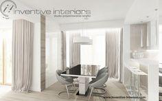 Projekt jadalni Inventive Interiors - biało beżowa jadalnia - szare krzesła