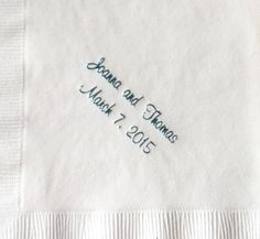 Elegant wedding napkins! Great prices and a variety of designs to choose from! www.napkinspersonalized.com