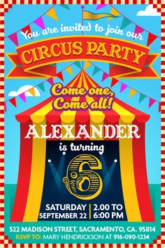 Circus Party! Party invitation for instant download at #etsy shop 'Ideas2Print' #partyprintables #party #circus