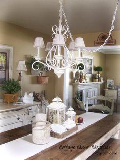 Painted light fixture ...Cottage  Charm Creations @Shelley Parker Herke Baum