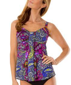 79968328efead Mazu Swimwear Black Florence Paisley Drape Tankini