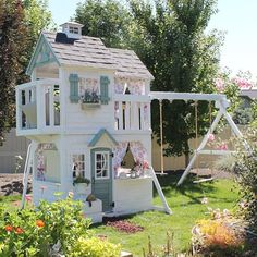 I was looking back at pictures this morning from last spring when we finished the playhouse.This has been such a fun thing for all the… Kids Outdoor Play, Kids Play Area, Backyard For Kids, Outdoor Fun, Backyard Playhouse, Backyard Playground, Playhouse Ideas, Cubby Houses, Play Houses