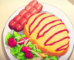 Anime food is the BEST. And hardly any dish looks less than perfect. Here are 37 of the most delicious anime food photos that will make you drool like a little baby. Anime Bento, Cute Food, I Love Food, Yummy Food, Chibi Food, Food Sketch, Food Cartoon, Food Drawing, Aesthetic Food
