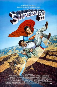 Superman III 1983 Directed by Richard Lester. With Christopher Reeve, Richard Pryor, Margot Kidder, Jackie Cooper. Synthetic kryptonite laced with tobacco tar splits Superman in two: good Clark Kent and bad Man of Steel. Christopher Reeve, 3 Movie, 80s Movies, Good Movies, Awesome Movies, Excellent Movies, Movies 2014, Cult Movies, Watch Movies