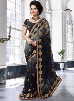 Make the heads flip the moment you costume up with this desirable black weight less designer saree. You could see some interesting patternsaccomplished with embroidered, patch border, resham and zar...