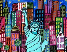 Statue of Liberty Art Modern City Folk Art New York City Art Contemporary NYC NY