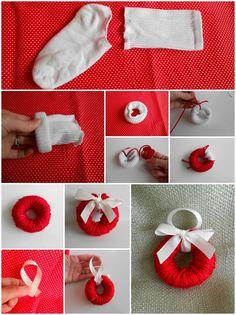A mini wreath made with yarn and a sock. Cute Christmas ornament