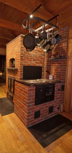 Brick Masonry Heater with Cookstove