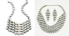Two takes on bold, metallic necklaces: Dannijo's Eloise Bib (left) and Luxemi's Rectangular Kundan Necklace Set.