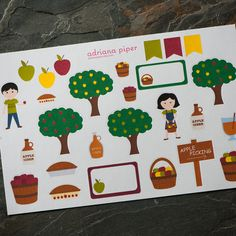 Apple Picking Collection for Erin Condren Life Planner, Plum Paper Planner, Filofax, Kikki K, Calendar or Scrapbook by adrianapiper on Etsy