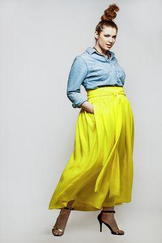 JIBRI Plus Size High Waist Yellow Maxi Skirt (attached wrap belt)