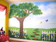 kids tree to paint on wall | Children's Murals for Baby Nursery Custom Children's Murals Nature ...