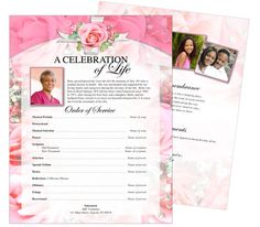 Printable Funeral Memorial Flyers Samples: One Page Funeral Flyer Template