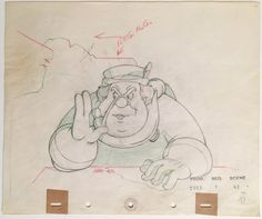 "Original production drawing of the Coachman in green, red, and graphite pencils from ""Pinocchio,"" 1940; Numbered 10 and production stam..."