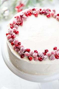A fabulously festive Cranberry Christmas Cake made with tart cranberries and bright orange zest in a moist sour cream batter. #cranberrycake #cranberry #cranberrychristmascake #cake #layercake #holidaycake #festivecake #baking #holidaybaking #christmascake #christmasdessert Christmas Cake Decorations, Holiday Cakes, Holiday Baking, Christmas Desserts, Christmas Stuff, Christmas Ideas, Cranberry Orange Muffins, Cranberry Cake, Sugared Cranberries