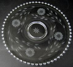 "RARE CANDLEWICK CRYSTAL GLASS 13¼"" FLAT PLATE ~ HUGHES CUT CORNFLOWER 400/75D Waterford Crystal, Glass Tray, Vintage Pyrex, Trays, China, Plates, Crystals, Tableware, Collection"
