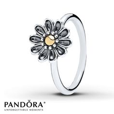 Pandora Ring Oopsie Daisy Sterling Silver/14K Gold !!!!!!!!!!!!!!!!!!!!!!!!!!!!!!!!!!!!!!!!!!!!