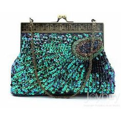 Evening+Purses | Noble Vintage Peacock Spread Handmade Beaded Bag Sequins Evening Bags
