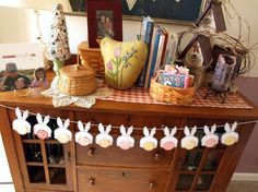 Bunny Butts Bunting - pink and yellow tails