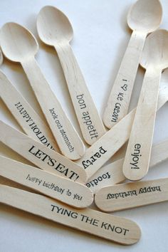 personalized wooden disposable spoons for events...brilliant!
