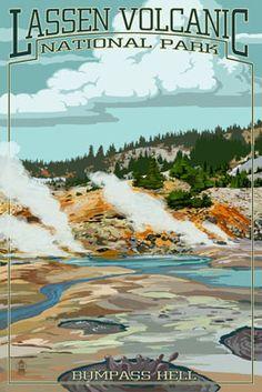 Lassen Volcanic National Park, California - Bumpass Hell - Lantern Press Artwork (Art Print Available), Multi California National Parks, Us National Parks, California Travel, Visit California, Northern California, Vintage National Park Posters, Vintage Travel Posters, Poster Vintage, Vintage Signs